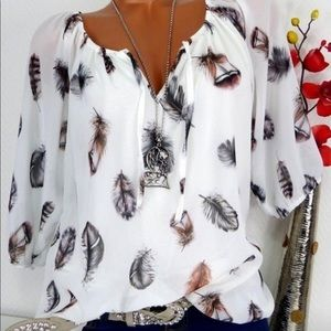 Off white feather blouse.  NWT.